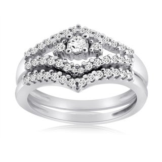 10k White Gold 1/2ct TDW Diamond Bridal Ring Set (H-I, I1-I2)
