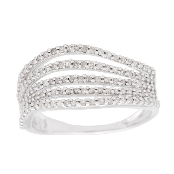 10k White Gold 1/2ct TDW Multi-row Wave Ring (H-I, I1-I2)