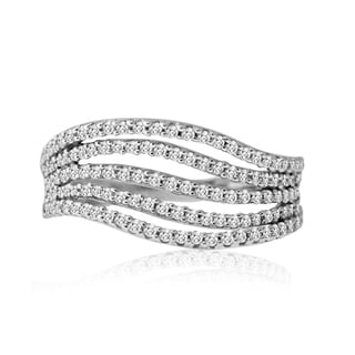 10k White Gold 1/2ct TDW Multi-row Wave Ring (H-I, SI1-SI2)