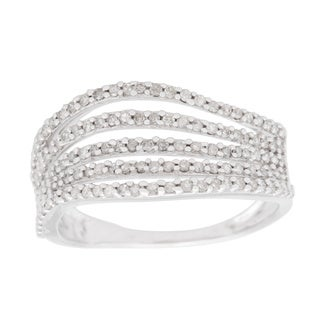10k White Gold 1/2ct TDW Multi-row Wave Ring (H-I, I1-I2)