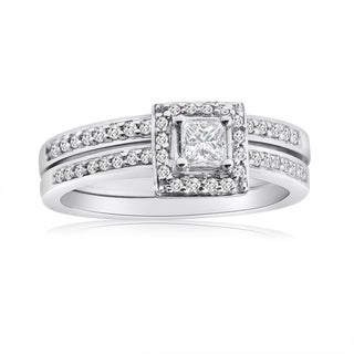 10k White Gold 1/2ct TDW Princess Diamond Halo Bridal Ring Set (H-I, I1-I2)
