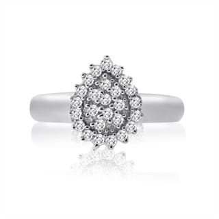 10k White Gold 1/4ct TDW Diamond Pear Shape Ring (H-I, I1-I2)
