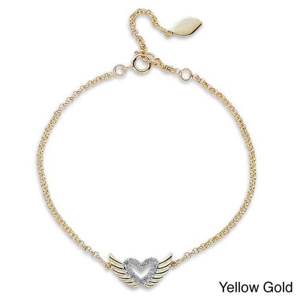 14k Gold or Silver 1/10ct TDW Diamond Winged Heart Bracelet (J-K, I2-I3)