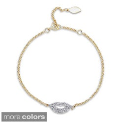 14k Gold/Silver 1/3ct TDW Diamond Lips Bracelet