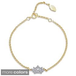 Victoria Kay 14k Gold/Silver 1/5ct TDW Diamond Crown Bracelet