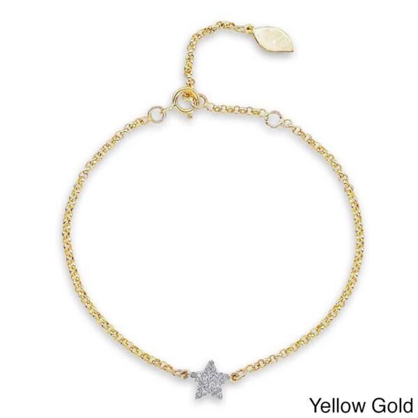 Victoria Kay 14k Gold or Silver 1/6ct TDW Diamond Star Bracelet (J-K, I2-I3)