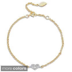 14k Gold or Silver Diamond Accent Heart Bracelet