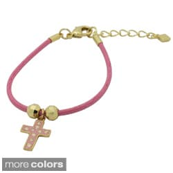 Gioelli 18k Gold Overlay Children's Enamel Cross and Cord Bracelet