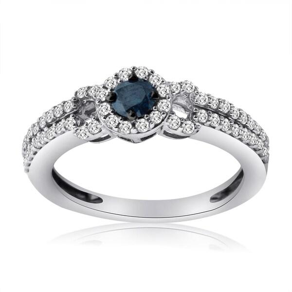 10k White Gold 5/8ct TDW Blue and White Diamond Ring (H-I, I1-I2)
