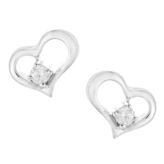10k White Gold Tiny Diamond Accent Heart Earrings
