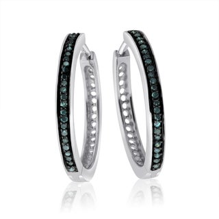 10k White Gold 1/2ct TDW Blue Diamond Hoop Earrings