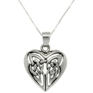 CGC Sterling Silver Celtic Knot Heart Necklace