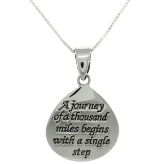 Carolina Glamour Collection Sterling Silver Journey Message Necklace