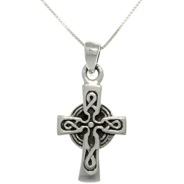 Sterling Silver Celtic Cross Necklace - Black 10834257