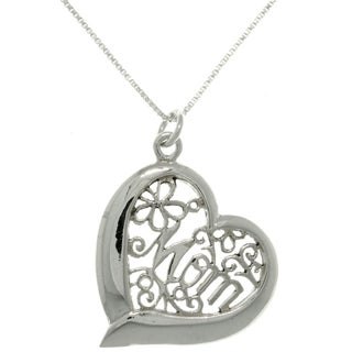 CGC Sterling Silver 'Mom' Heart Necklace