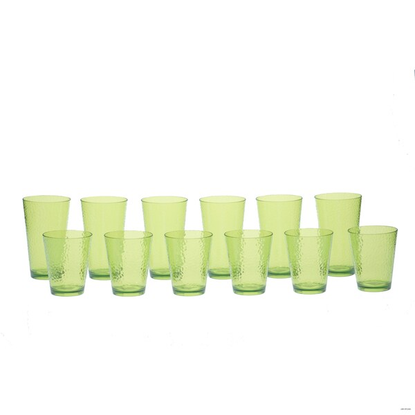 Certified International Lime Hammered Glass 12-piece Drinkware Set