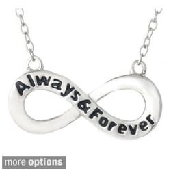 Mondevio Sterling Silver Inspirational 'Always and Forever' Infinity Necklace