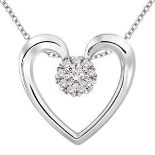 Sterling Silver 1/10ct TDW Diamond Heart Necklace (H-I, I2)