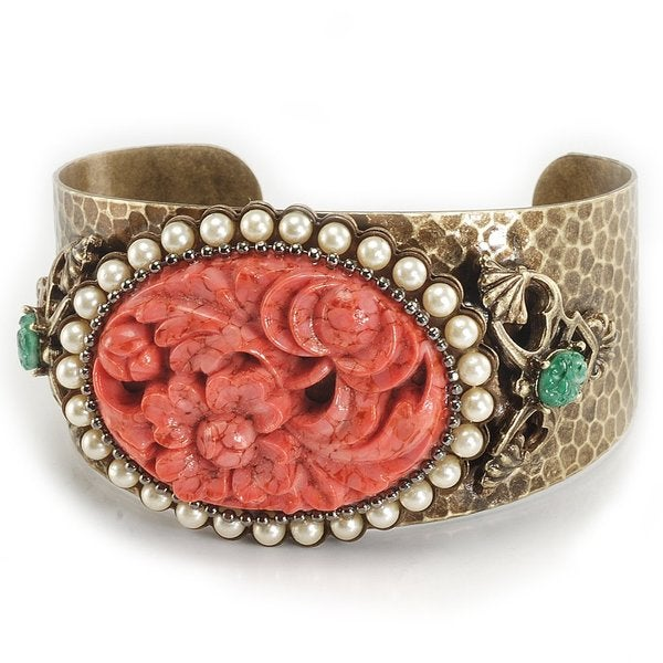 Sweet Romance Bronzetone Pewter Coral and Faux Pearl Cuff Bracelet