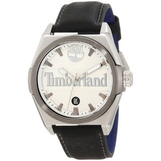Timberland Men's 'Back Bay' Black Calfskin Strap Watch