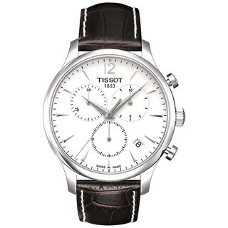 Tissot Men's 'T-Classic' Brown Crocodile Leather Strap Chronograph Watch