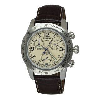 Tissot Men's T36.1.316.72 Brown Leather Quartz Watch with Beige Dial
