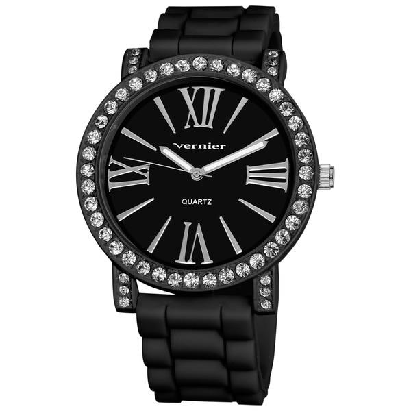 Vernier Ladies Oversized Crystal Bezel Silicone Strap Quartz Watch