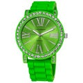 Vernier Ladies Oversized Crystal Bezel Green Silicone Quartz Watch