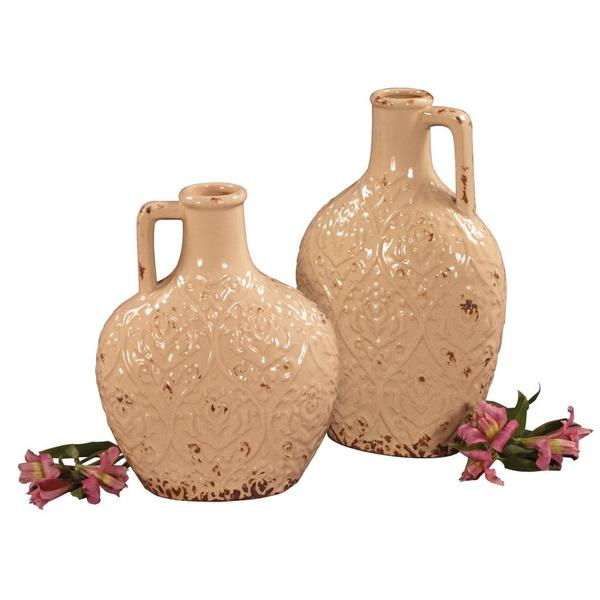 Distressed Ivory Glaze Ceramic Pitchers (Set of 2)