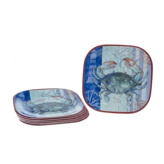 Certified International Blue Crab 10.5-inch Plates (Set of 6)