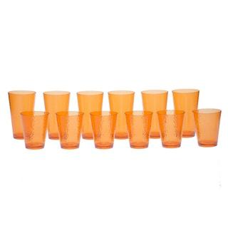 Certified International Orange Hammered Glass 12-piece Drinkware Set