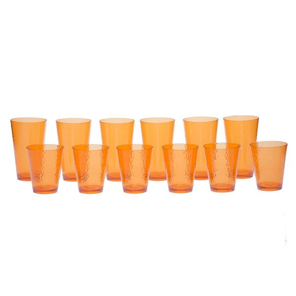 Certified International Orange Hammered Glass 12-piece Drinkware Set