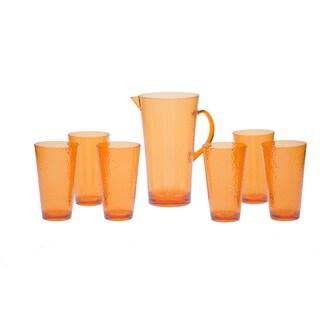 Certified International Orange Hammered Glass 7-piece Drinkware Set