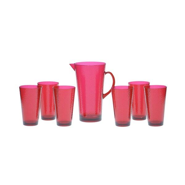 Certified International Ruby Hammered Glass 7-piece Drinkware Set