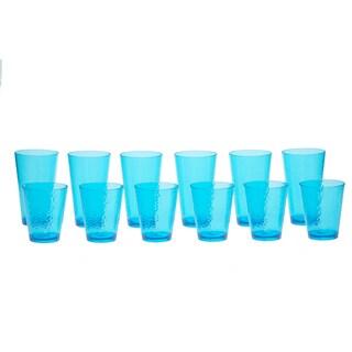 Certified International Hammered Teal Glass 12-piece Drinkware Set