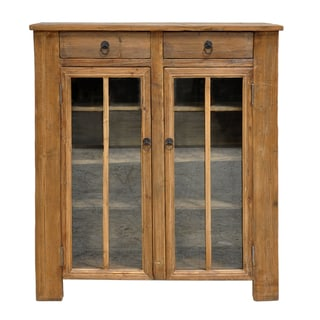 Kosas Home Bandy Handcrafted Distressed Pine and Glass Cabinet