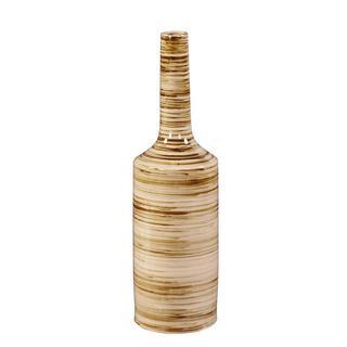 Large Beige with Brown Stripes Glazed Ceramic Vase