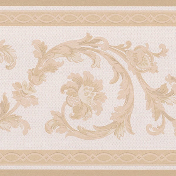 Beige Scroll Border Wallpaper