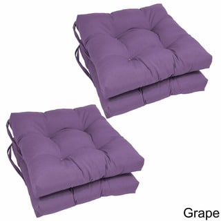 Blazing Needles 16-inch Square Tufted Twill Dining Chair Cushions (Set of 4)