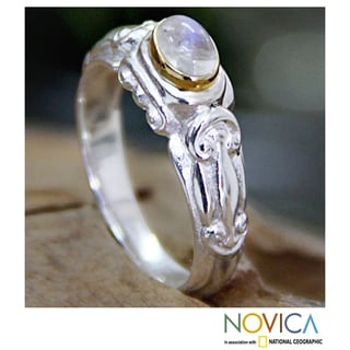 Gold Accent 'Swirls and Twirls' Moonstone Solitaire Ring (Indonesia)