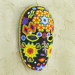Handcrafted Beadwork 'The Sun' Huichol Mask (Mexico)