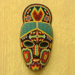 Handcrafted Beadwork 'Cornfield Protectors' Huichol Mask (Mexico)