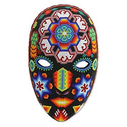 Peyote Crown Huichol Handmade Beaded Artwork Red Purple Blue Green Orange Black White Decorator Accent Wall Art Mask (Mexico)