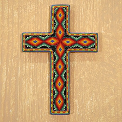 Handcrafted Beadwork Pinewood 'All-seeing God' Huichol Cross (Mexico)