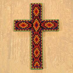 Handcrafted Beadwork Pinewood 'Eyes of God' Huichol Cross (Mexico)