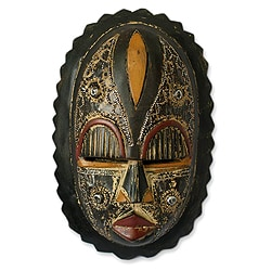 Handcrafted Sese Wood 'Heart of Grief' African Mask (Ghana)