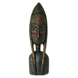 Handcrafted Sese Wood 'My Good Friend' African Mask (Ghana)