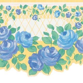 Blue Floral Trellis Border Wallpaper