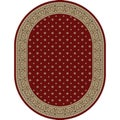 Border Formal Transitional Red Oval Area Rug (5'3 x 6'10 Oval)
