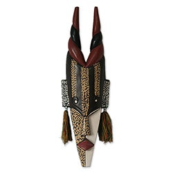 Handcrafted Sese Wood 'Agona Antelope' African Mask' (Ghana)